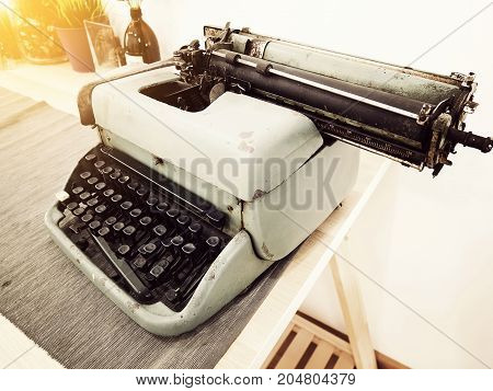 Vintage typewriter on the table vintage writer Area old typewriter keys antique and retro style
