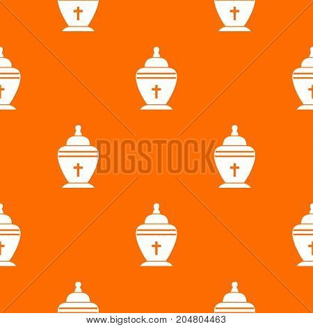 Urn pattern repeat seamless in orange color for any design. Vector geometric illustration