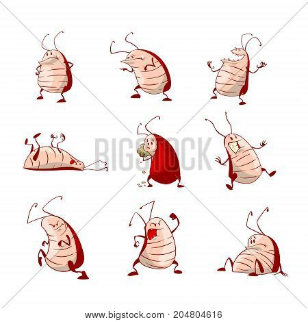 Set of colorful vector cockroaches character illustrations