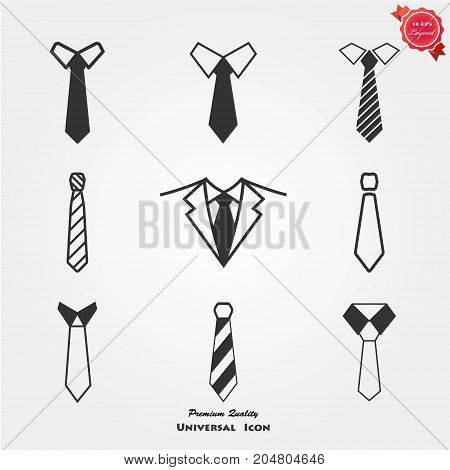 Tie Icon in trendy flat style isolated on grey background. Necktie symbol for your web site design, logo, app, UI. Vector illustration, EPS10.