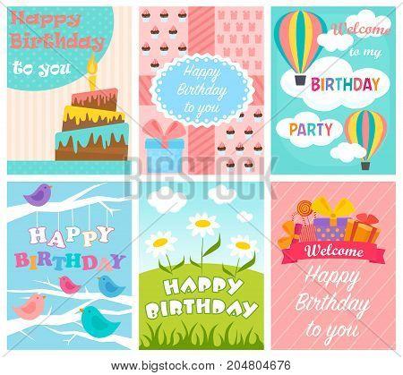 Cute Birthday card set. Vector illustration isolated