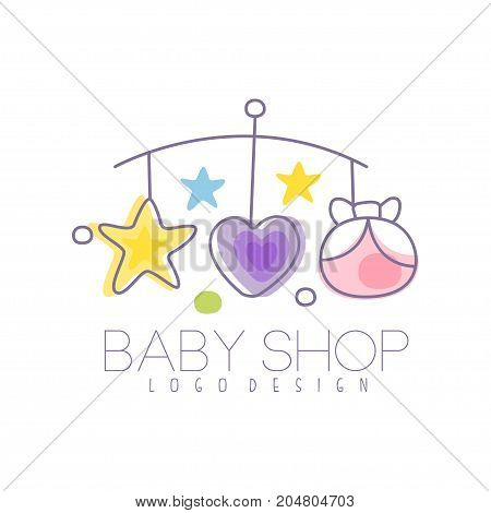 Baby care logo design, emblem with baby bed carousel, label for kids club, baby or toys shop and any other children projects colorful vector Illustration on a white background
