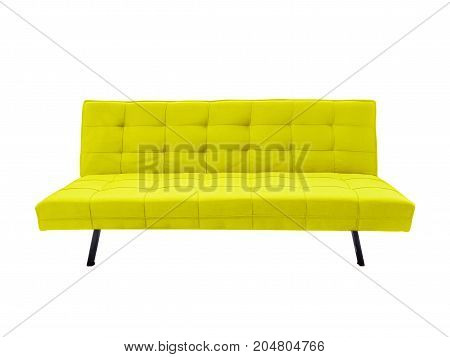 Modern yellow fabric sofa isolated on white background with clipping path.