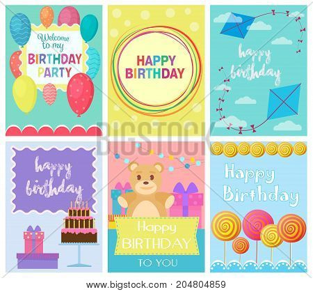 Happy Birthday Collection set of invitation cards greeting templates, to the party. Vector banners with confetti, teddy bear, cake, balloons, candy and gifts