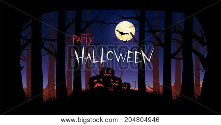 Invitation for Halloween. Silhouettes of pumpkins against the background of a gloomy forest. Bloody fog.