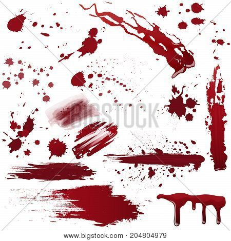 Set of various blood or paint splatters. Realistic vector illustration