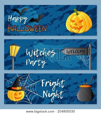 Vector set of three horizontal banners. Halloween theme. Traditional holiday symbols and inscriptions. Jack-o-lantern, ghost, witch hat, cauldron, bat, web. Abstract blots background.