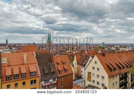 view of Nuremberg from castle wall Germany