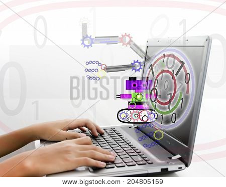 get ready learning robot for new experience by internet.