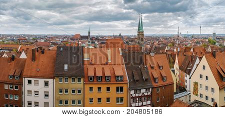 Panoramic view of Nuremberg from castle wall Germany