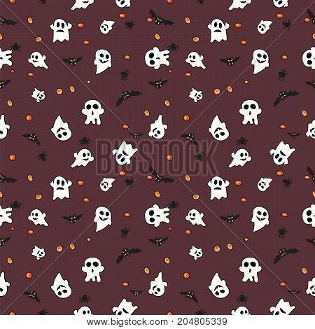 Pattern halloween bats, halloween ghost and hallowen orange pumpkin on dark red background.