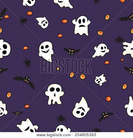 Pattern halloween bats, halloween ghost and halloween orange pumpkin on violet background.