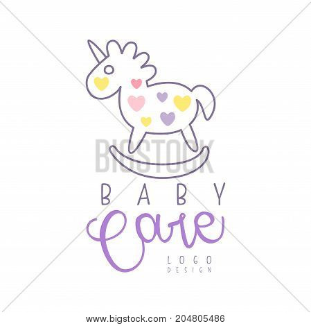 Baby care logo design, emblem with rocking horse toy, label for baby products store, toys shop and any other children projects colorful hand drawn vector Illustration on a white background