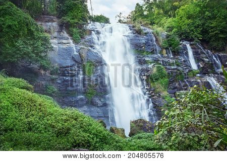 wachirathan waterfalls a tourist attraction at doi inthanon chiang mai unseen thailand.