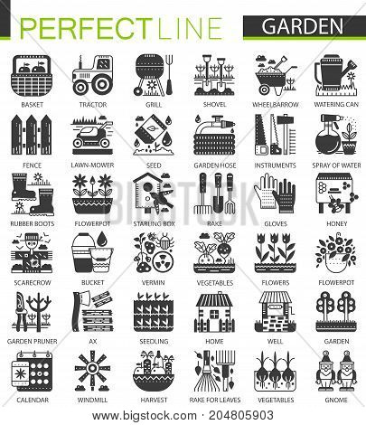 Gardening flower equipment classic black mini concept symbols. Garden modern icon pictogram vector illustrations set