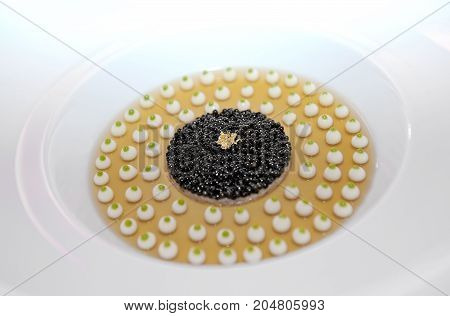 Luxury food - close up caviar for dinner