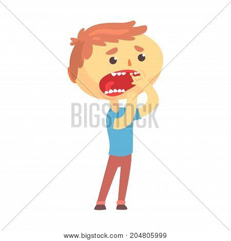 Unhappy boy character suffering from toothache cartoon vector illustration isolated on a white background