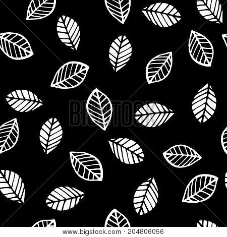 Abstract floral seamless pattern with leaves. Trendy hand drawn textures. Modern abstract design for paper, cover, fabric, interior decor and other users.