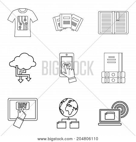 Copying document icons set. Outline set of 9 copying document vector icons for web isolated on white background