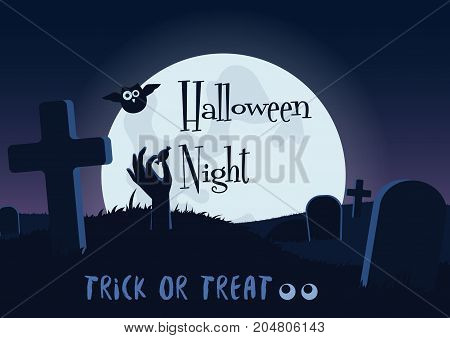 Vector illustration of Halloween postcard with dead zombie hand of creature holding treat at night