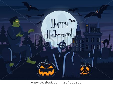 Vector illustration of Happy Halloween postcard and graveyard with zombie, pumpkin creatures and decorations