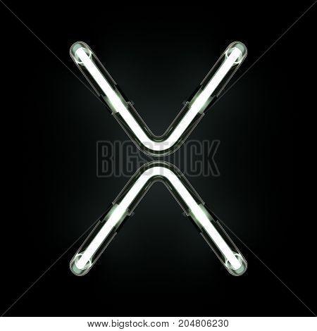 Neon Light Alphabet X on black background. 3D illustration