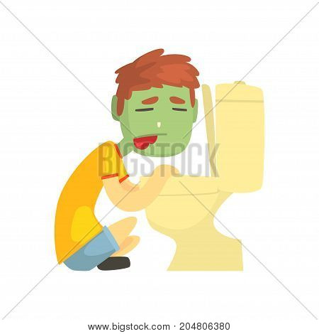Sick boy vomiting into the toilet bowl cartoon character vector illustration isolated on a white background