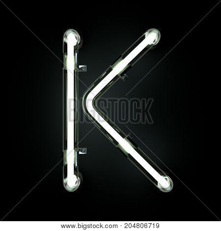 Neon Light Alphabet K on black background. 3D illustration