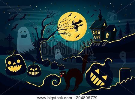 Vector illustration of silhouettes of ghosts, pumpkins, witch, scary cat and other different creatures and decorations for Halloween