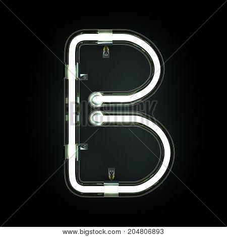 Neon Light Alphabet B on black background. 3D illustration