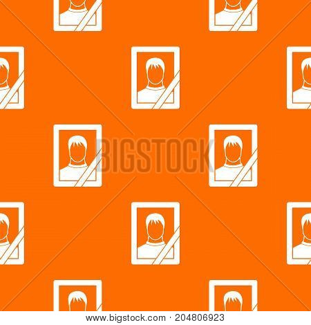 Memory portrait pattern repeat seamless in orange color for any design. Vector geometric illustration