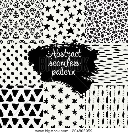 Set of hand drawn design patterns. Vector collection of black ink abstract textures.