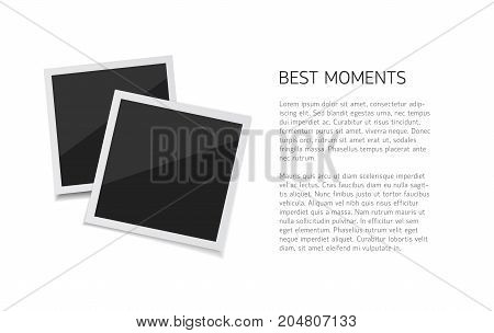 Collect moments. Vector polaroid photo sticked down with paper tape. Empty retro photos on white background.