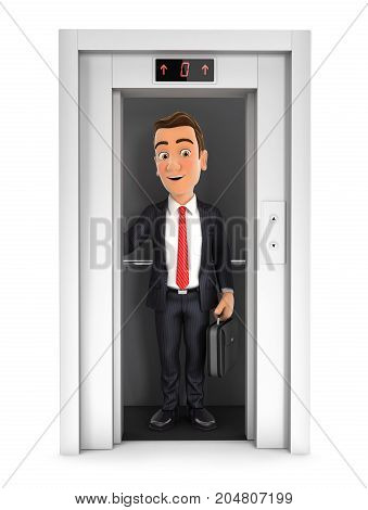 3d businessman taking the elevator illustration with isolated white background