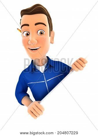 3d mechanic behind diagonal wall illustration with isolated white background