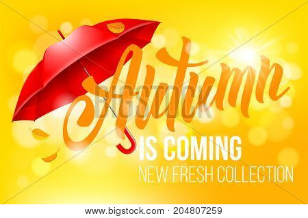 Unusual calligraphic inscription Autumn is coming with red umbrella. Conceptual vector illustration for advertising new product or announcement other events.