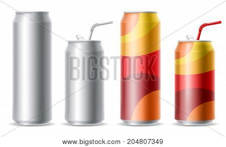 Set of realistic metallic cans for beer or soft drink. Blank metallic cans ready for new design. 500 and 300 ml. Isolated vector illustration