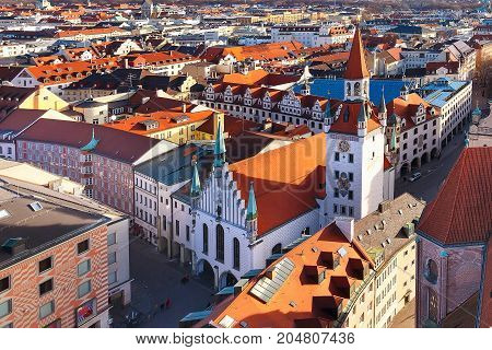 Aerial panoramic view and city skyline in Munich, Germany