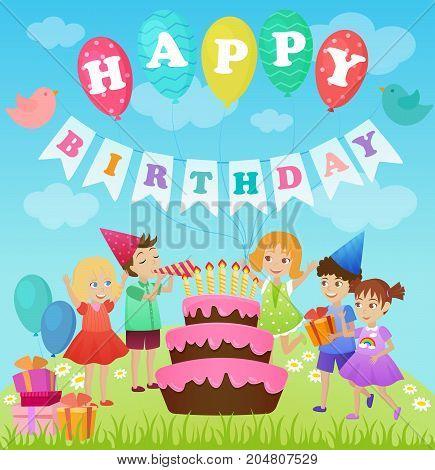 Birthday party for kids. Cartoon vector illustration