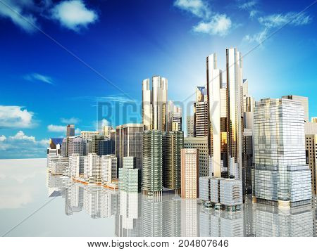 Panorama Cityscape Modern High-rise Buildings Panorama Of The Central Part Of The City 3D Rendering