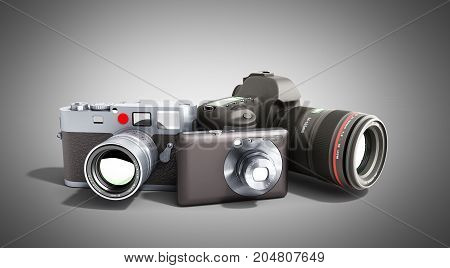 Photo Cameras Of Different Classes 3D Render On Grey
