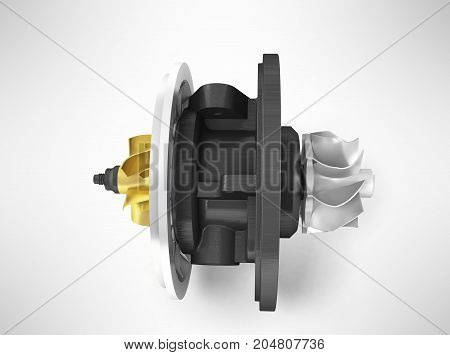 Concept Of Cartridge Turbine Front 3D Rendering On Gray Background