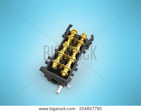 Concept Of The Cylinder Head Head Black Gold 3D Render On A Blue Background