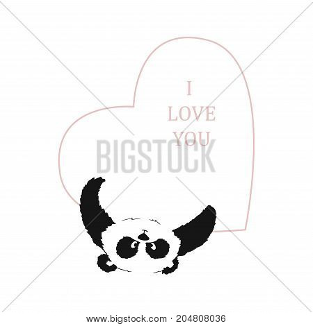Panda With A Heart In His Paws On A Transparent Background. Postcard To The Day Of St. Valentine