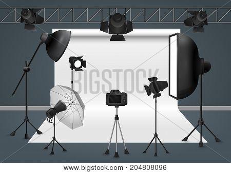 Photo studio with camera, lighting equipment flash spotlight, softbox and background. Vector illustration
