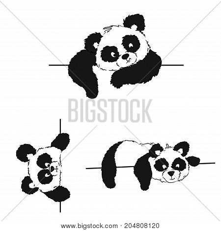 A Set Of Pandas With A Frame For Drawing Postcards And A Menu Of Chinese Cuisine. Vector Illustratio