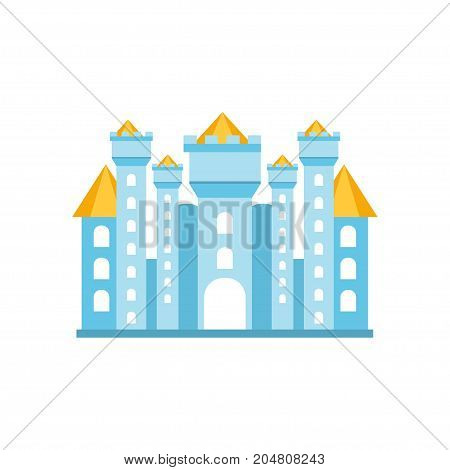 Light blue fairytale royal castle or palace building vector illustration isolated on a white background