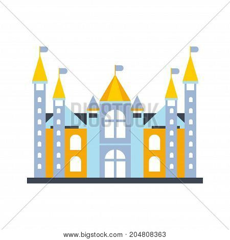 Colorful fairytale royal castle or palace building with flags vector illustration isolated on a white background