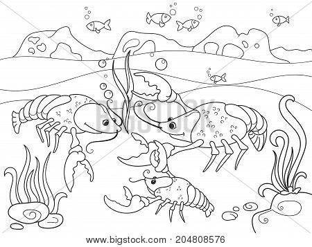 Childrens cartoon family of crayfish on the bottom of the pond. Vector illustration of a coloring book. Black lines, white background