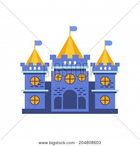 Blue fairytale royal castle or palace building vector illustration isolated on a white background